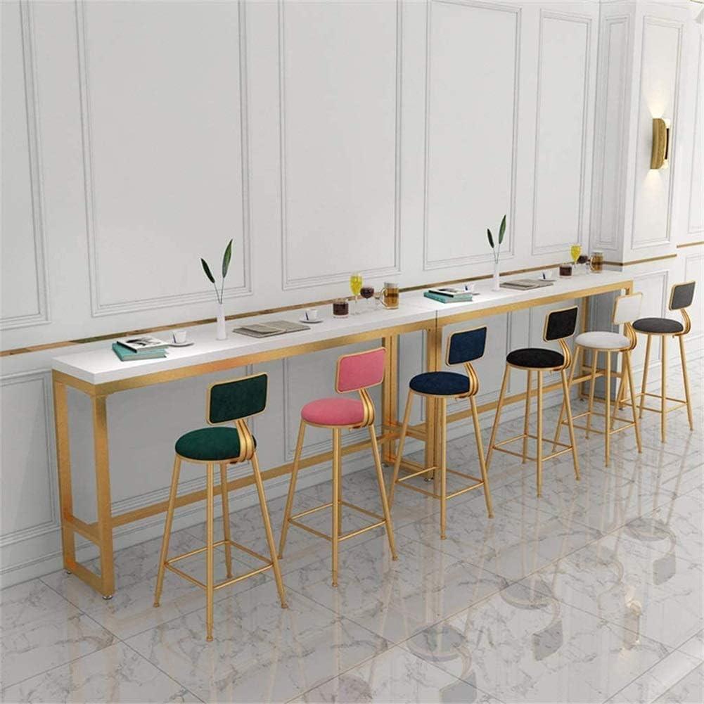 Tabouret de Bar Hauteur 45/65/75cm en Velours et métal doré Chaise de Cuisine (Multicolore Disponible) (Couleur: Noir, Taille: 45cm) C