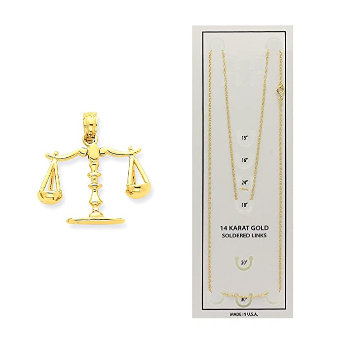 14k Yellow Gold 3-D Moveable Scales of Justice Pendant C3122
