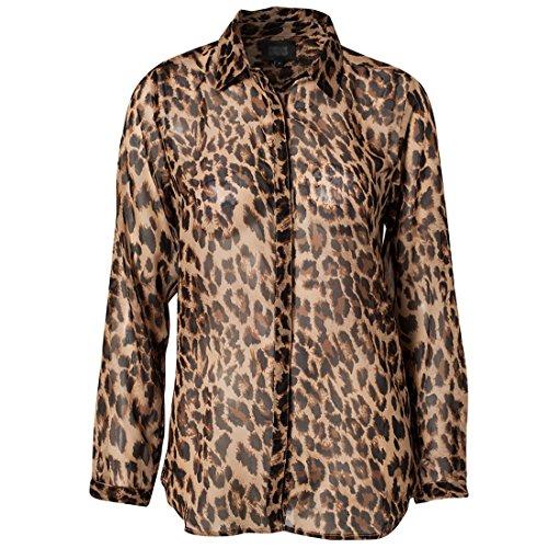 Women's Casual Long Sleeve Leopard Print Chiffon Blouses Plus Size