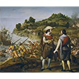 polyster Canvas ,the High Resolution Art Decorative Prints on Canvas of oil painting 'Cajes Eugenio Recuperacion de San Juan de Puerto Rico 1634 35 ', 24 x 29 inch / 61 x 73 cm is best for Wall art artwork and Home decor and Gifts
