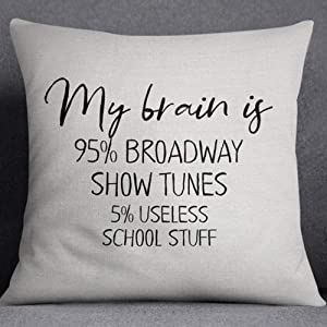 My Brain is 95% Broadway Show Tunes Pillows Cushion Covers 18x18 inch Machine Washable Throw Pillowcases Home Bedroom Decorations Color: Broadway
