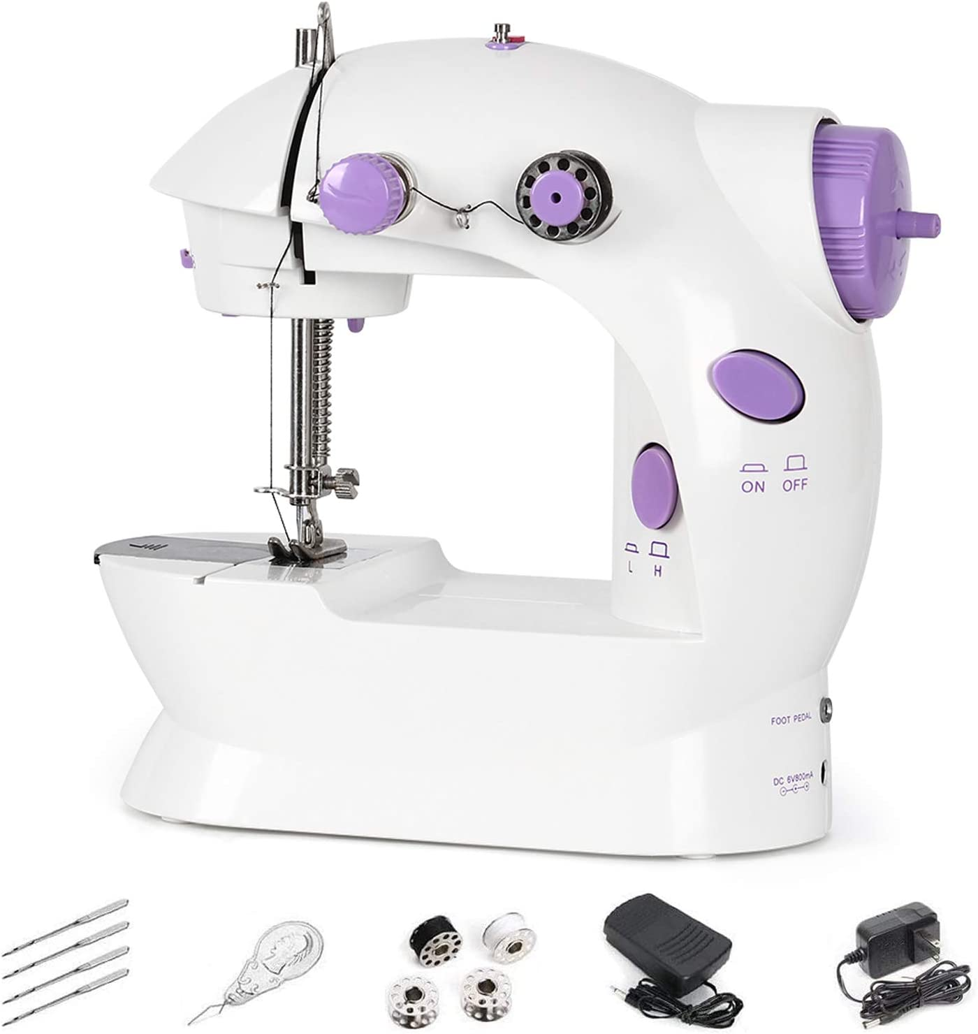 Portable Mini Sewing Machine Electric for Beginners Sewing Kit Crafting Mending Machine Handheld with Speed Double Thread Foot Pedal Handheld
