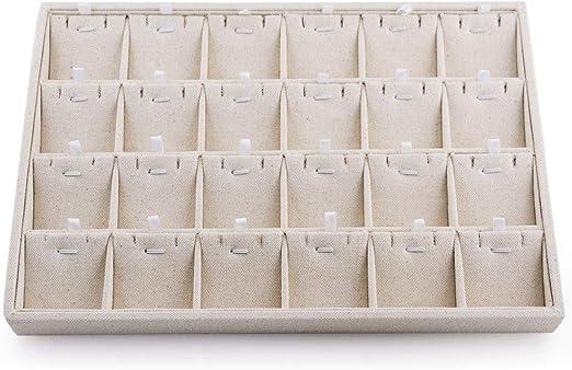 Oirlv Stackable Sackcloth Jewelry Trays 12 Grids Jewelry Drawer Insert Showcase Display Organizer