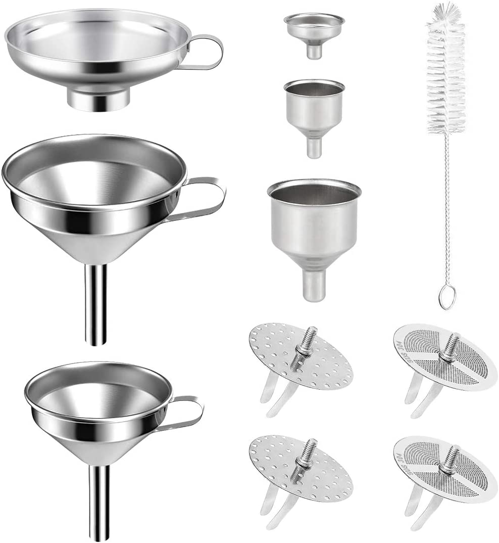 Elscop 6pcs Stainless Steel Funnel Durable Kitchen Funnels Jar Canning Funnel with 4pack Removable Strainer and 1pcs Cleaning Brush,Perfect for Pouring Liquid,Granule,Powder to Small Caliber Bottle