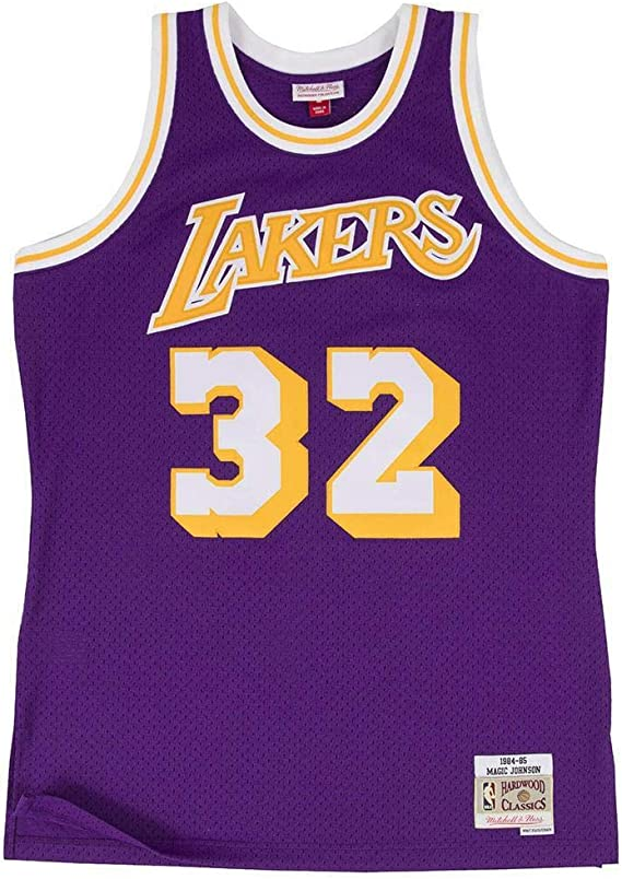 Mitchell & Ness Los Angeles Lakers Mens Jersey 32 Magic Johnson Swingman Purple