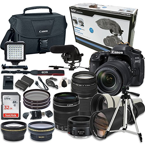 Canon EOS 80D Digital SLR Camera + EF-S 18-135mm f/3.5-5.6 IS USM w/ NANO Autofocus System & EF 75-300mm f/4-5.6 III Telephoto Zoom + EF 50mm f/1.8 STM + Kodak MIC-711 Microphone + Video Creator Kit