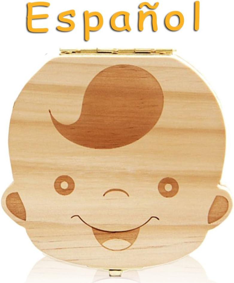 Leisial Caja de Almacenamiento de Dientes de Leche Souvenir Caja Guardar Madera Diente Organizador de la Caja para Niños Bebé 1pc(Español)