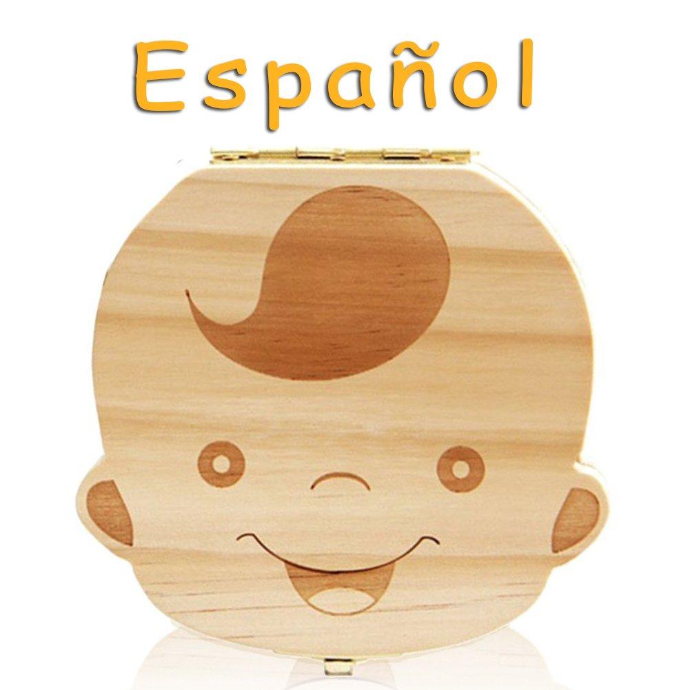 Leisial Caja de Almacenamiento de Dientes de Leche Souvenir Caja Guardar Madera Diente Organizador de la Caja para Niños Bebé 1pc(Español) product image