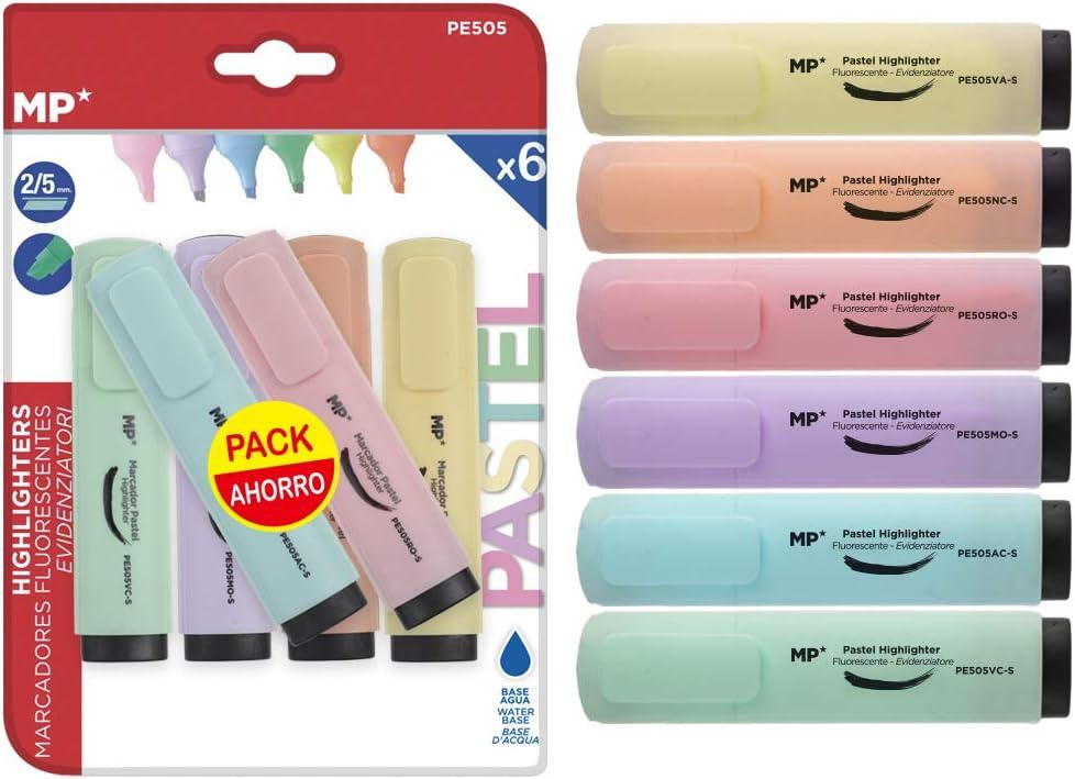 MP PE505 - Set de 6 marcadores fluorescentes: Amazon.es: Oficina y papelería