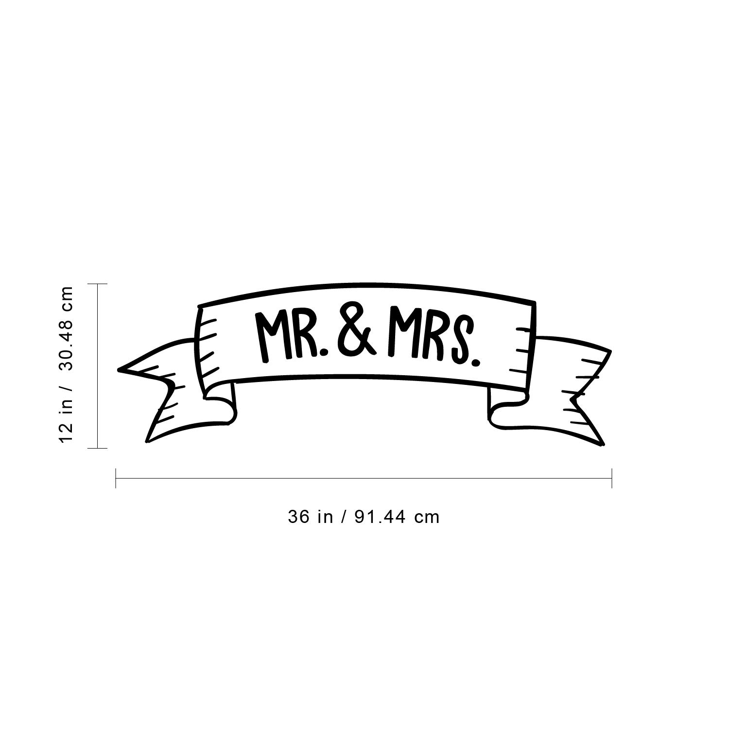 Couples Wedding Reception Home Adhesive Sticker Mr /& Mrs 12 x 36, White Marriage Wedlock of Love Living Room Bedroom Apartment Decor Stickers 12 x 36 Vinyl Wall Art Decal