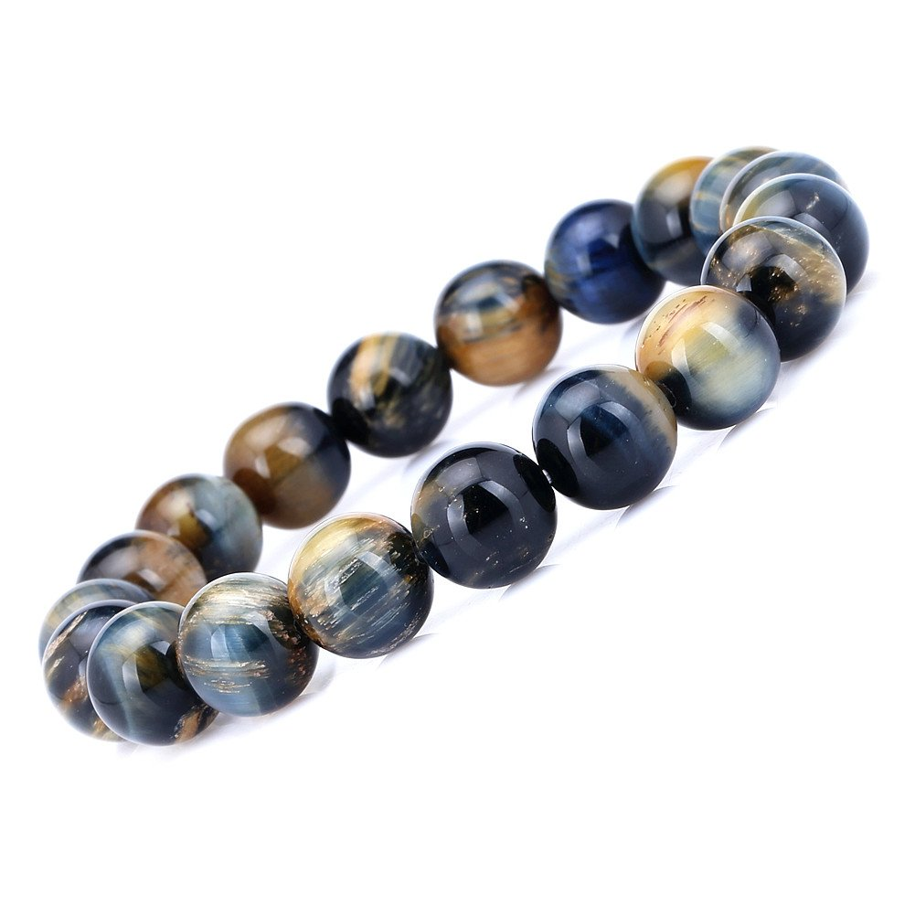Qitian AAA 10mm Tiger Eye Stone Bracelet Handmade Stretch Strand Bracelets by Qitian