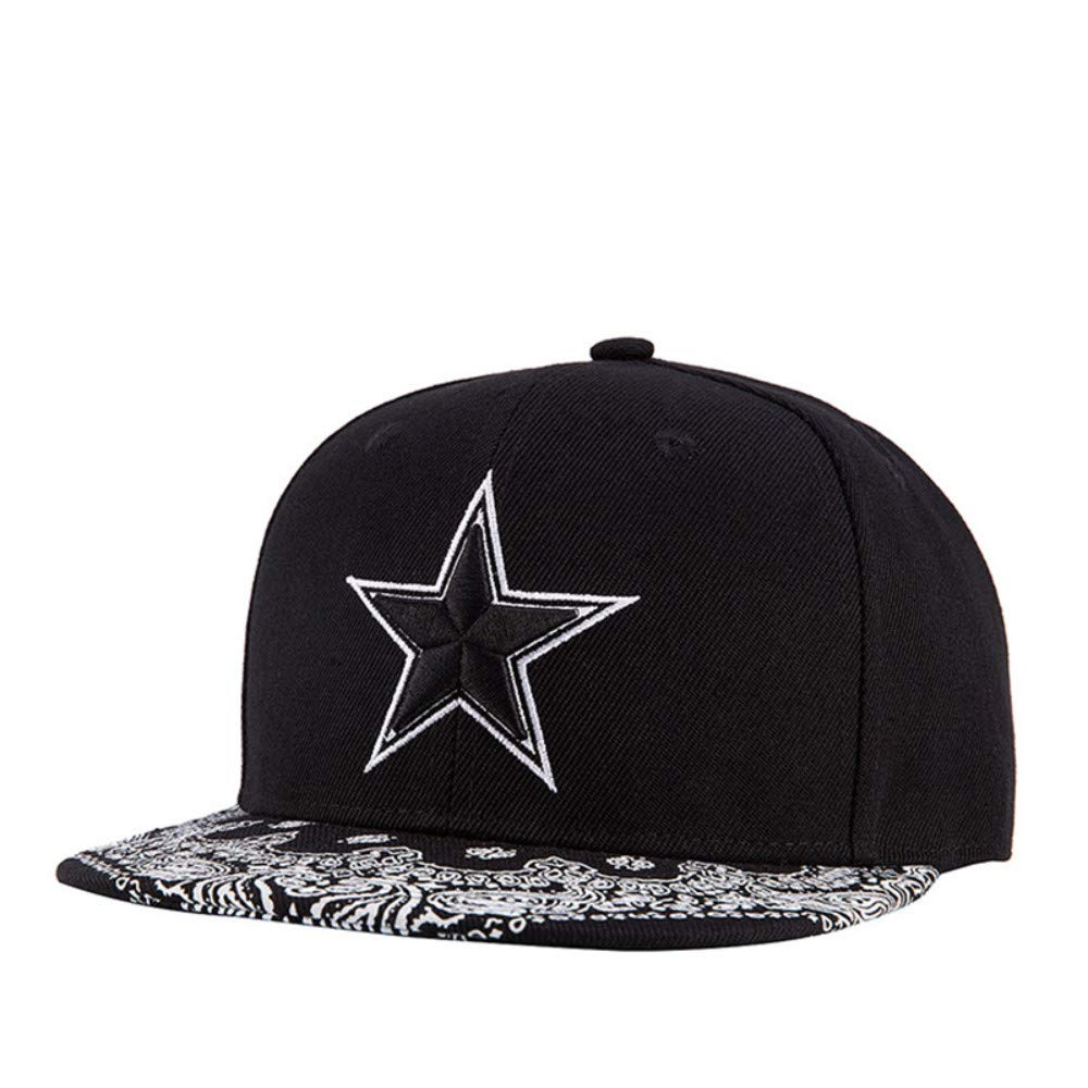 Chlally Men Hip Hop Snapback Caps Women Flat Cap Hats for Female Straight Print Visor Pentagram Embroidery Casual Bones Baseball Cap 5659 cm