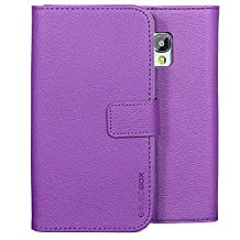 Galaxy S5 Active Case, BUDDIBOX [Wallet Case] Premium PU Leather Wallet Case with [Kickstand] Card Holder and ID Slot for Samsung S5 Active, (Purple)
