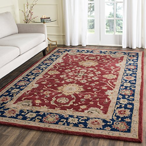 Safavieh Anatolia Collection AN517A Handmade Traditional Oriental Red and Navy Wool Area Rug (9'6