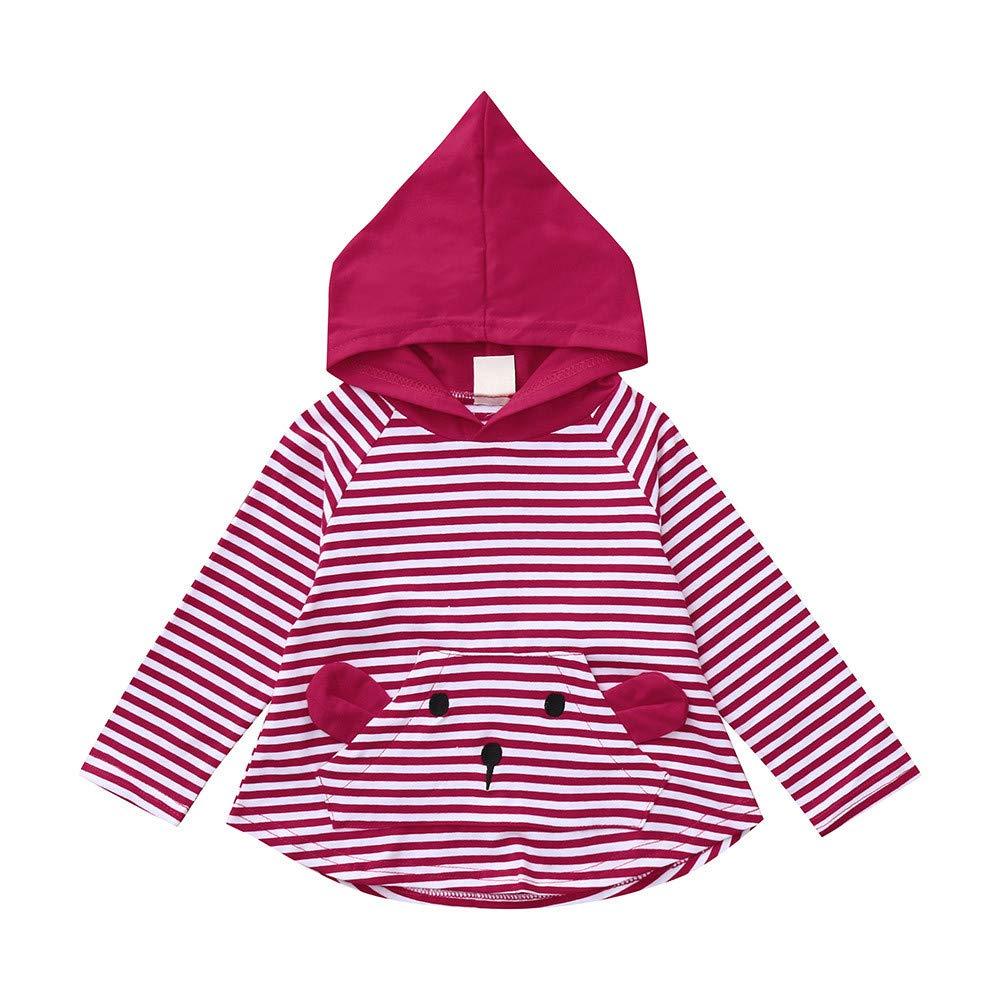 Clode Cute 0-4 Years Old Baby Girls Boys Hooded Long Sleeve Stripe Soft Sweatshirt Pullover T-Shirt Tops Clode-TS-00387