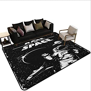 Area Rug Rugs Astronaut,Print,The Race to Space Retro Image with Space Crafts Planets Astronaut vs Cosmonauts,Large Floor Mat for Living Dining Dorm Playing Room Bedroom,Black White 7'6x10'