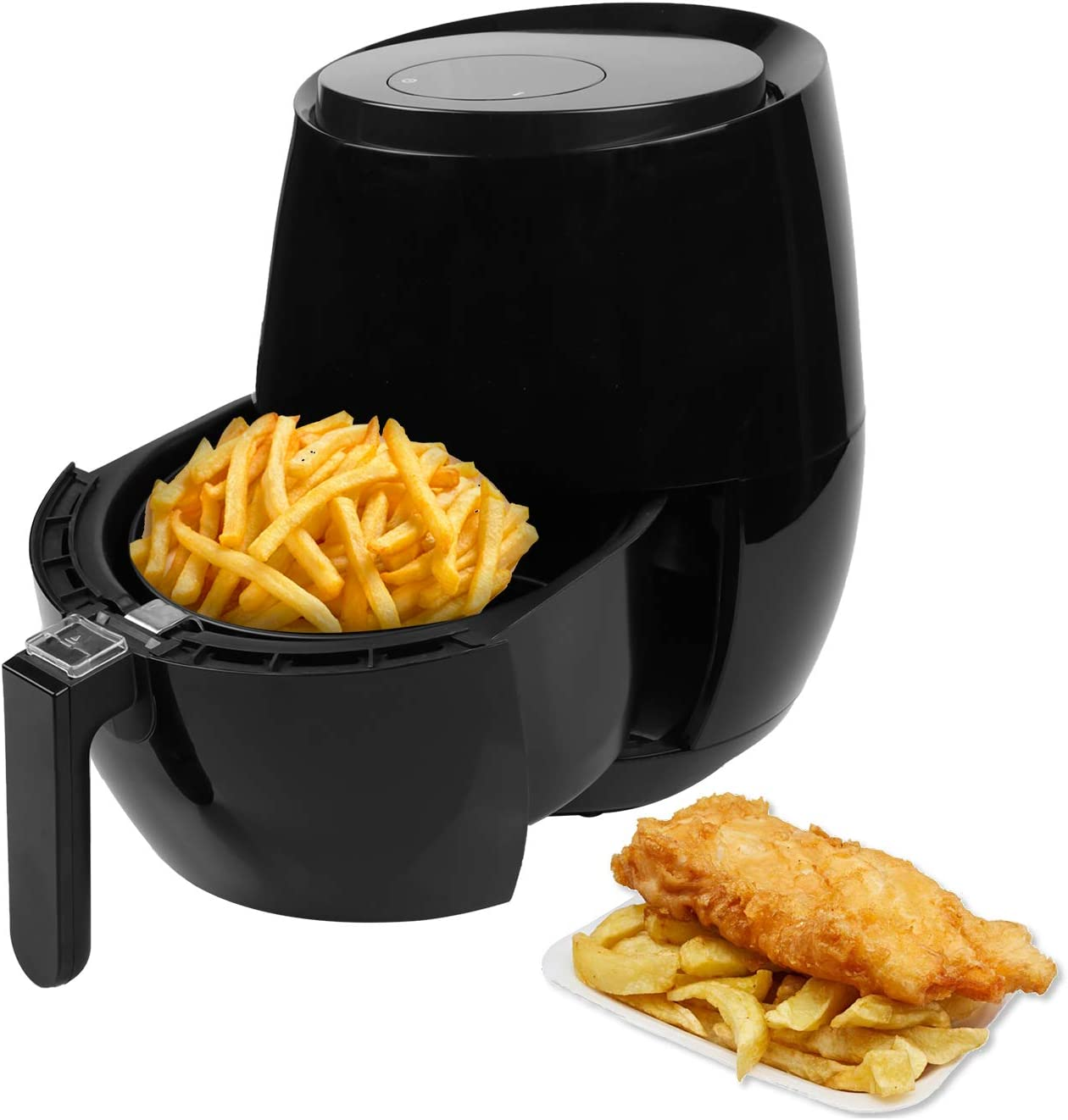 Letton Air Fryer, 3.8QT Electric Hot Air Fryers, Oven Oilless Cooker with LCD Digital Screen & Nonstick Frying Pot, 1350-Watt, Recipes (Black)