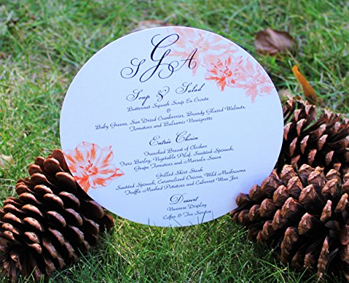 Set of 10 Flower Circle Menu Cards for Wedding, Baptism, Christening, Bridal Shower, baby Shower, ANY EVENT!! All Wording Customized for (Event Menu Card)