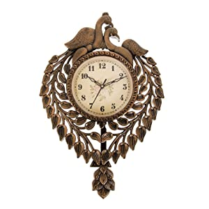 Smera Peacock Shape Copper Color Pendulum Wall Clock for Home and Office