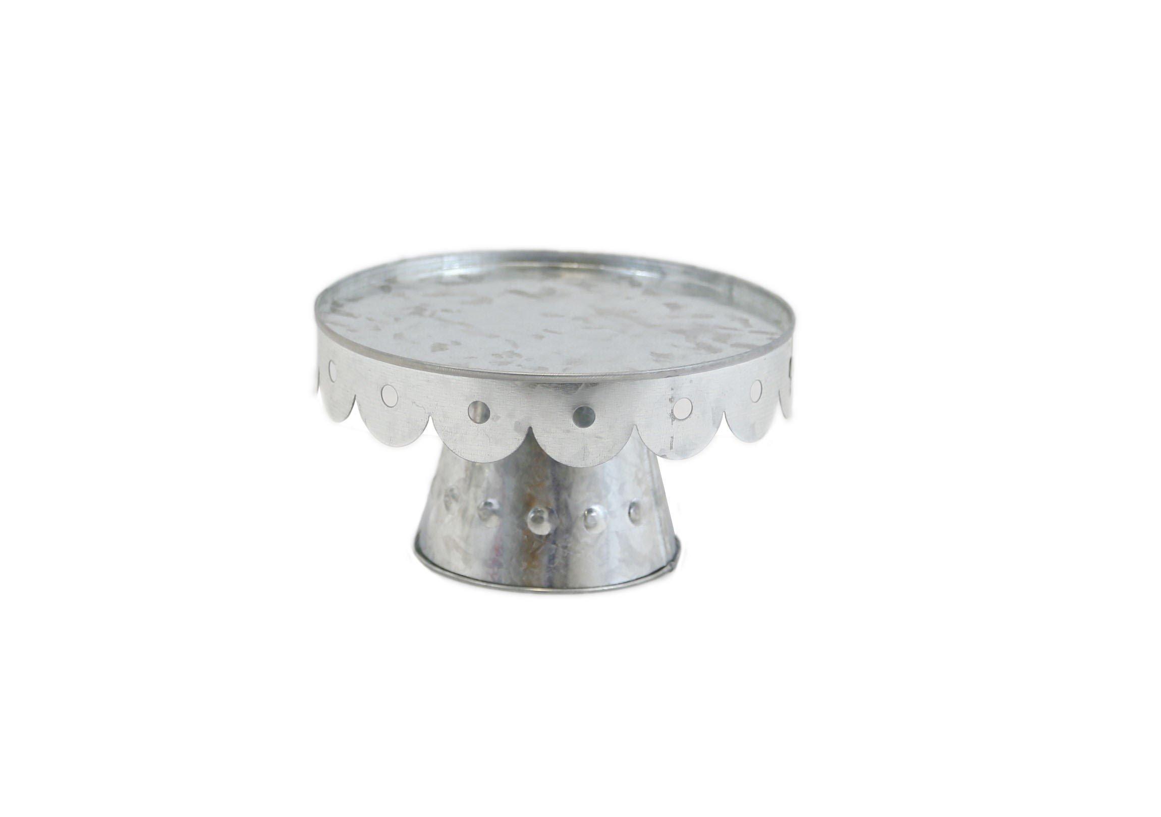 Medium Galvanized Scalloped Cake Stand