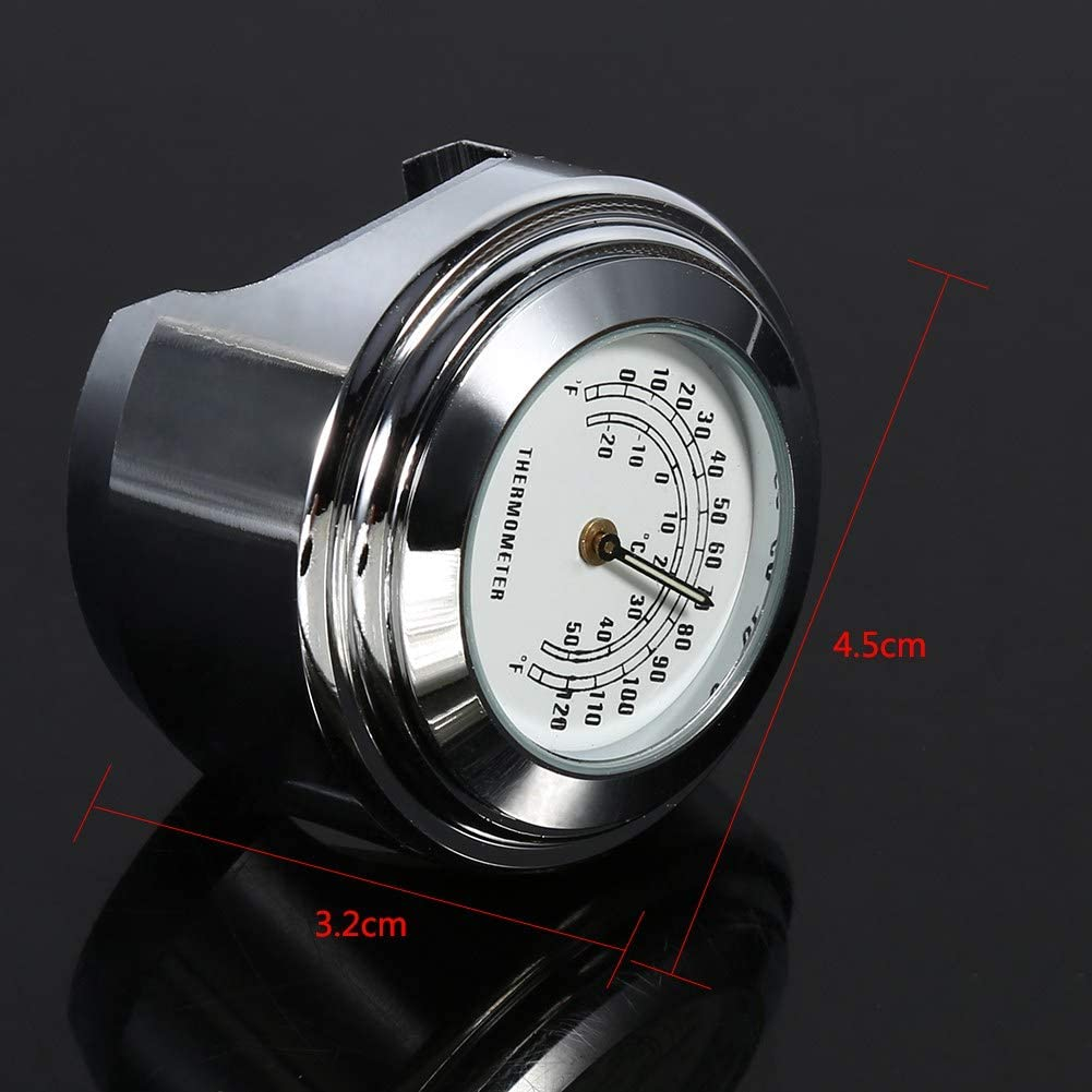 Motorcycle Handlebar Thermometer 7//8 inch 1 Motorcycle Handlebar Mount Thermometer Waterproof Temp Dial Gauge with Anti-skip Rubber Mat /& Allen Wrench