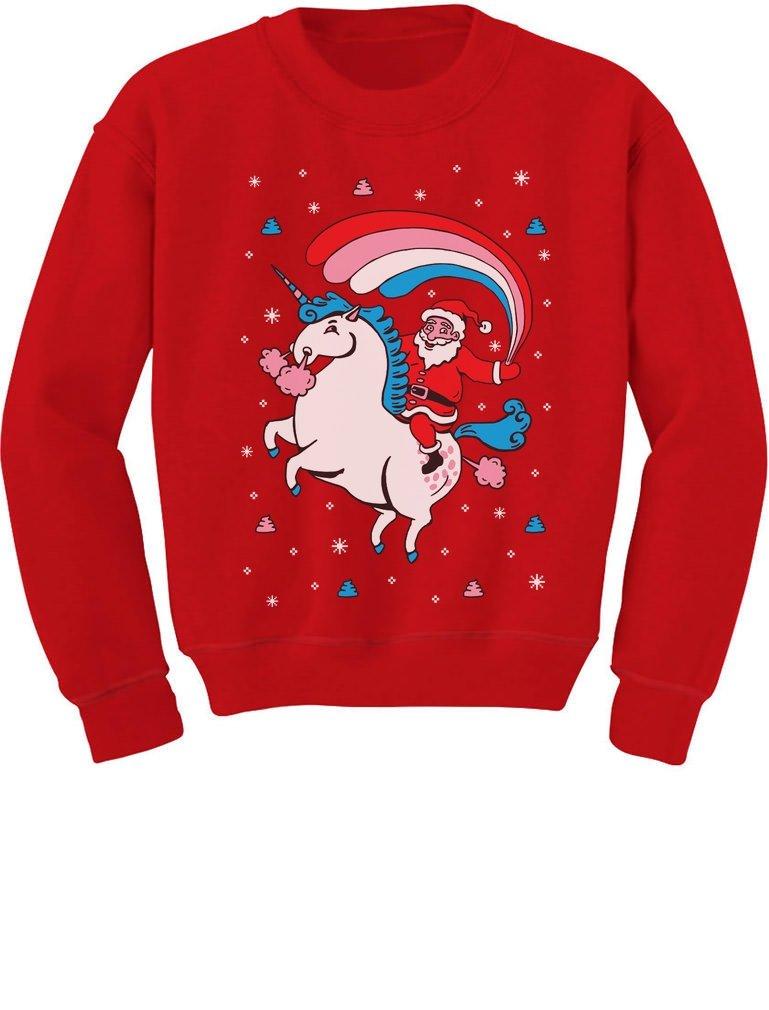 TeeStars - Santa Riding Unicorn Rainbow Ugly Christmas Toddler/Kids Sweatshirt GMPlhZtgf5