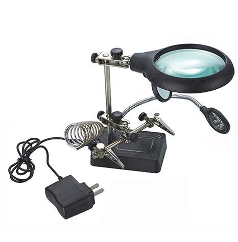 LED lámpara Lupa Lente Alicate reparación lámpara de Mesa para Soldadura electrónica