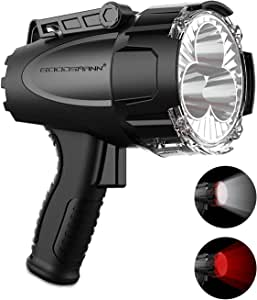 Rechargeable Marine Spotlight by GOODSMANN LED 6000 Lumen Portable Handheld Light Waterproof Searchlight 70W Hunting Work light with EVA Carrying Case and Red Lens Filter