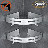 HOOMTAOOK Corner Shower Caddy Bathroom Shelf Wall Mount Rustproof Nail Free Glue+Double Sided Adhesive No Drill Aluminum For Kitchen Storage 2 Tiers(Silver)