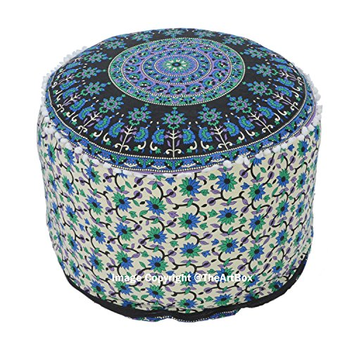 The Art Box Indian Handmade Mandala Floor Footstool Round Seating Chair Cotton Pillow Cover Vintage Pouf Cover Home Decorative Pouf Ottoman 14x24 Inch Approx. ()