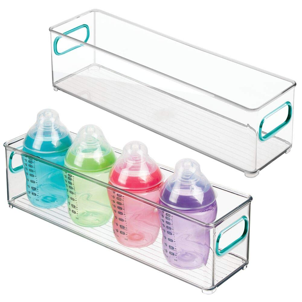 """mDesign Slim Storage Organizer Container Bin with Handles for Kids Supplies in Kitchen, Pantry, Nursery, Bedroom, Playroom - Holds Snacks, Bottles, Baby Food - BPA Free, 4"""" Wide, 2 Pack - Clear/Blue"""