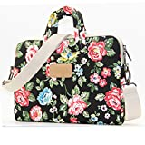 Dachee Black Flower Laptop Case Messenger Shoulder Bag for 15 - 15.6-inch Laptop / Notebook / Macbook / Ultrabook / Chromebook Computers