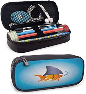 "Shark Leather Pen Pencil Case Little Goldfish Wearing A Shark Fin to Scare Predators Success Concept for Marker Organization School Supplies Office Storage Desk Organizing8""x3.5'x1.5'"