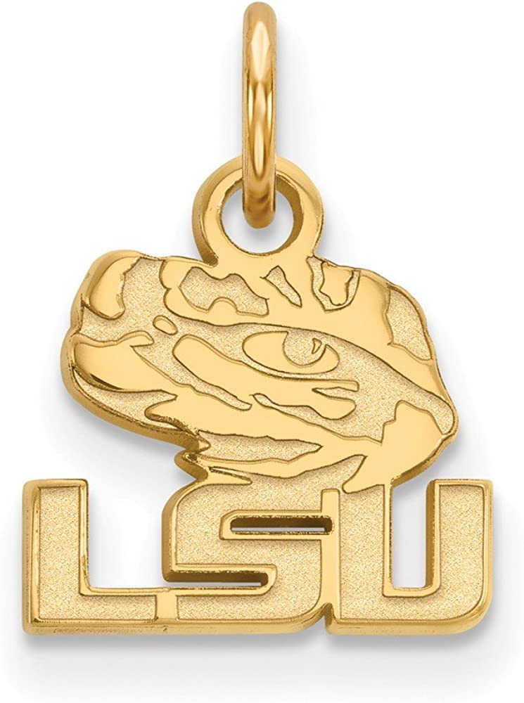 15mm x 11mm 925 Sterling Silver Yellow Gold-Plated Official Louisiana State University Extra Small Tiny Pendant Charm