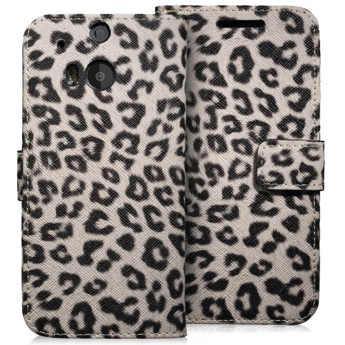 Fosmon CADDY-LEOPARD Leather Wallet Flip Cover Case for HTC One (M8) 2014 - Tan