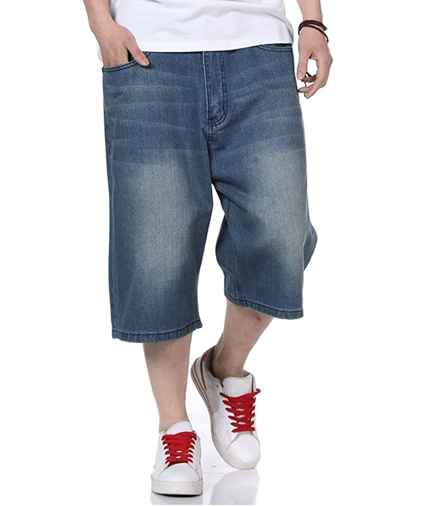 PY-BIGG Mens Jean Shorts Relaxed Fit Denim Short Jeans Classic Plain Casual Plus Size 30W-46W
