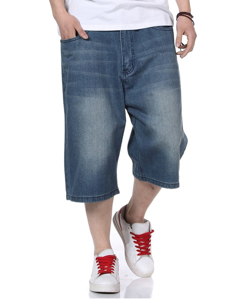 PY-BIGG Mens Jean Shorts Relaxed Fit Denim Short Jeans Classic Plain Casual Plus Size 30W-46W (40)