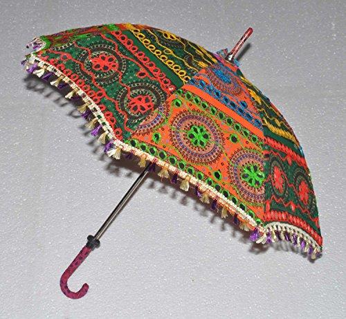Embroidered Home Décor Cotton Sun Umbrella Multicolor Women Gift Parasol Indian