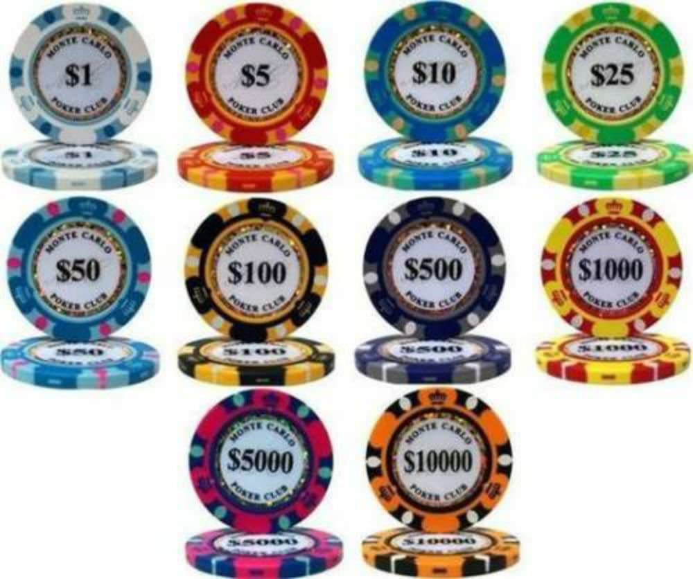 New 500 Showdown 13.5g Clay Poker Chips Set with Aluminum Case Pick Chips!