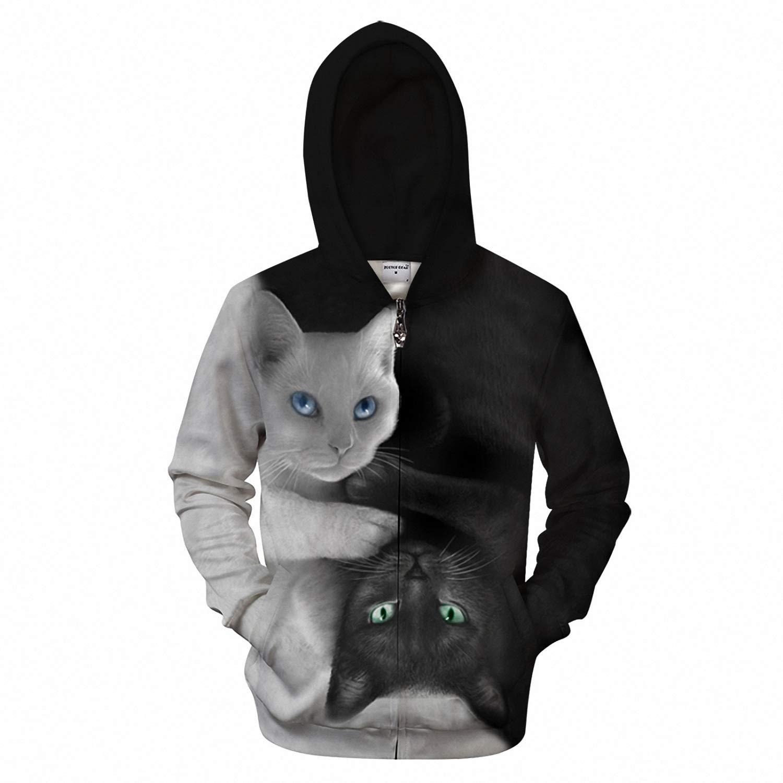 Yin Yang Cat 3D Zip Hoodies Men Zipper Hoody Sweatshirt Printed Tracksuits