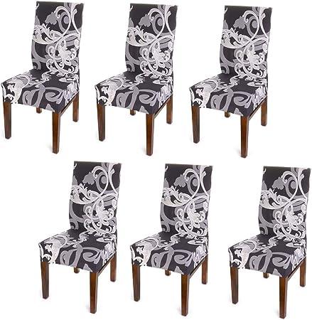 BTSKY 6 fundas para silla de comedor – Estilo simplismo moderno, elástico, extraíble, resistente, lavable, para jardín, sala de estar, comedor (sin sillas) (flor marrón oscuro): Amazon.es: Hogar