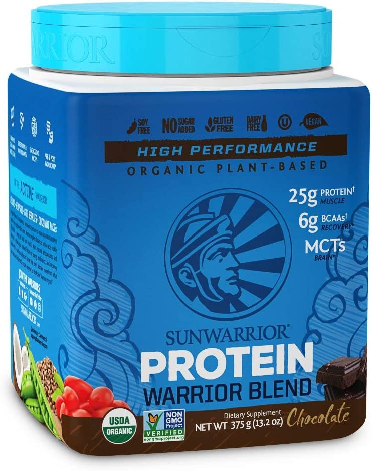 Sunwarrior – Warrior Blend, Plant Based, Raw Vegan Protein Powder with Peas Hemp, Chocolate, 15 Servings