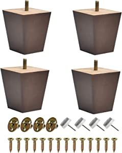BUYGOO 3inch Wood Furniture Legs Sofa Legs Set of 4 Square Couch Legs Mid-Century Modern Replacement Legs for Armchair Recliner Coffee Table Dresser (Brown)