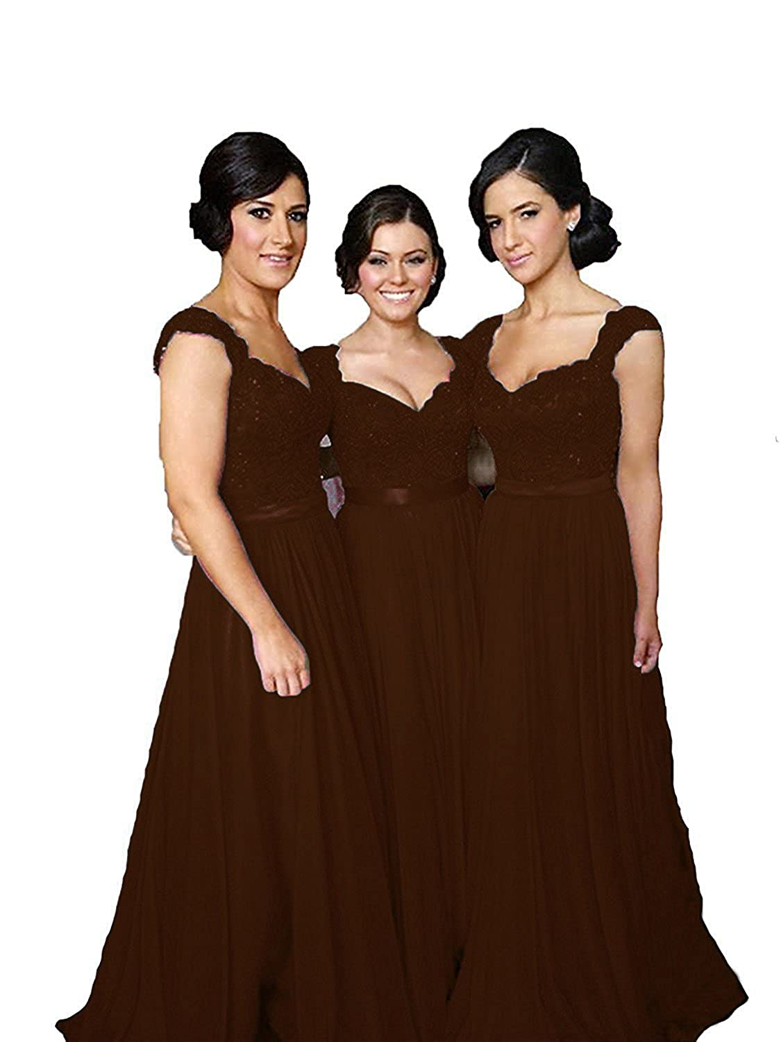 Fanciest Women' Cap Sleeve Lace Bridesmaid Dresses Long Wedding Party Gowns D642-MFN