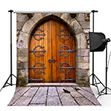 Kooer 5x7ft Old Castle Door Style Photography Backdrops Vintage Door Wall Photography Backgrounds Photo Studio Prop Baby Children Family Photoshoot Backdrop Customized Various Size