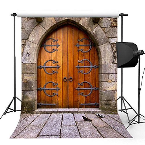 Kooer 5x7ft Old Castle Door Style Photography Backdrops Vintage Door Wall Photography Backgrounds Photo Studio Prop Baby Children Family Photoshoot Backdrop Customized Various Size by Kooer-1701068
