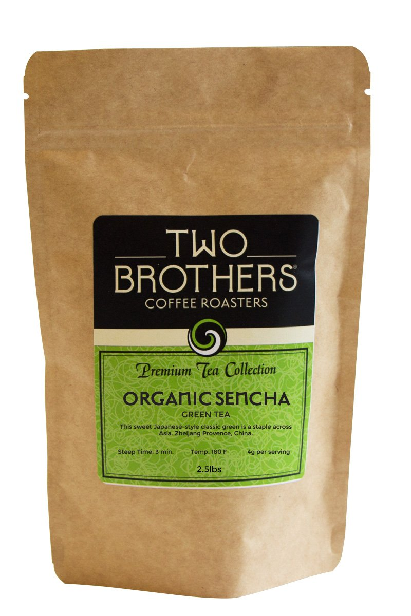 Two Brothers Coffee Roasters Premium Tea Collection Organic Sencha - Green - 2.5lb by Two Brothers Premium Teas
