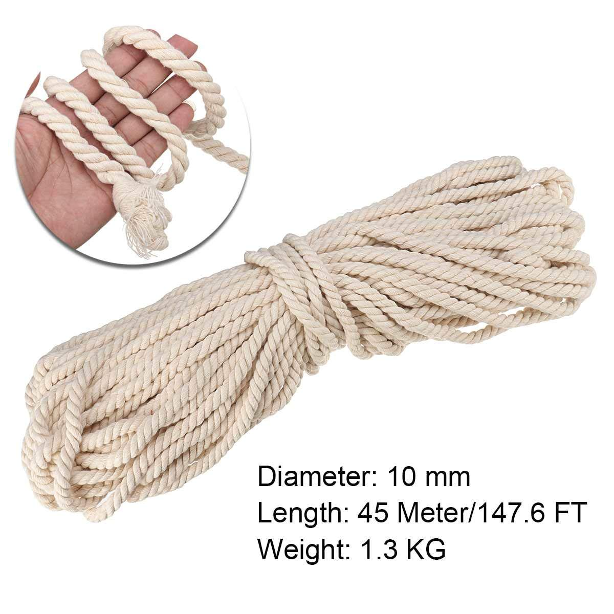 FINCOS Macrame Rope Natural Beige 10mm 45m Twisted Cord for Handmade Enthusiasts for Artisan DIY Hand Craft Cords Pure Cotton by FINCOS (Image #1)