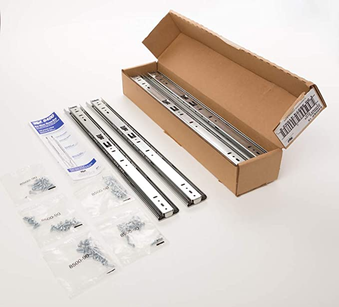 New 8400 Series 28 in Anochrome Drawer Slide Durable Steel Construction