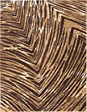 Eventful Spirit Brown & Beige Animal Print Area Rug Abstract Brushstrokes Zebra Stripes